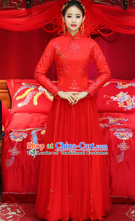 Top Grade Chinese Traditional Wedding Costumes Embroidered Xiuhe Suits Bride Toast Red Dress for Women