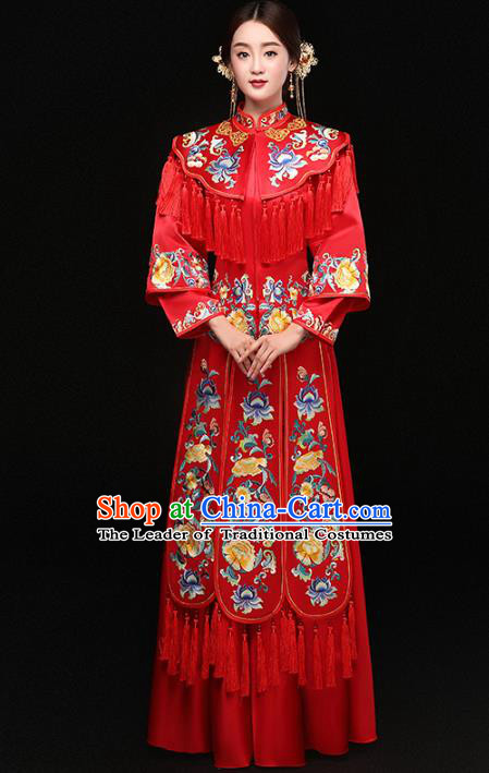 Top Grade Chinese Traditional Wedding Costumes Bride Embroidered Peony Xiuhe Suits for Women