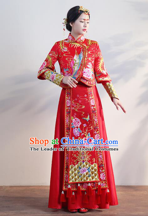 Chinese Traditional Wedding Costumes Longfeng Flown Bride Embroidered Phoenix Red Xiuhe Suits for Women