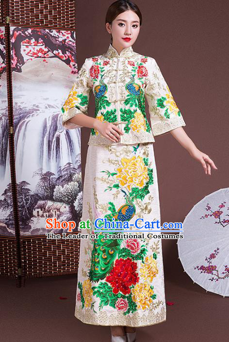 Chinese Traditional Wedding Costumes Longfeng Flown Bride Embroidered Peacock White Xiuhe Suits for Women