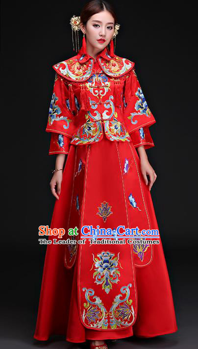 Chinese Traditional Wedding Costumes Ancient Longfeng Flown Bride Embroidered Xiuhe Suits for Women