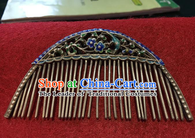 Chinese Traditional Ancient Hairpins Hair Accessories Enamel Hair Comb for Women