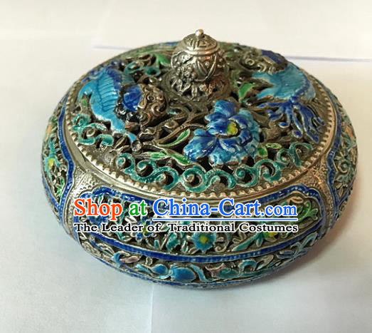 Chinese Traditional Ornaments Accessories Censer Ancient Sliver Blueing Incense Burner