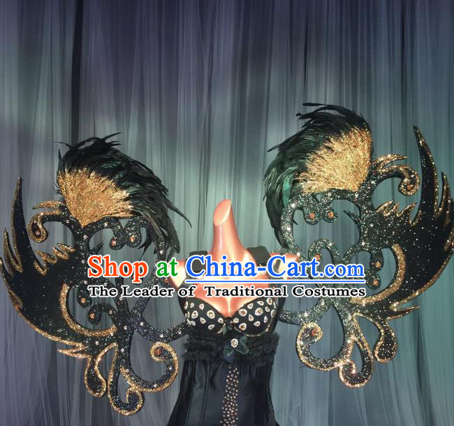 Top Grade Stage Performance Brazilian Carnival Feather Wings Miami Black Feathers Deluxe Wings for Women