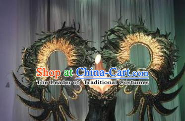 Top Grade Stage Performance Brazilian Carnival Black Feather Wings Miami Feathers Deluxe Wings for Women