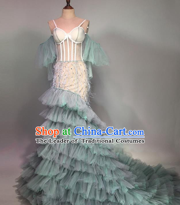 Top Grade Stage Performance Customized Costume Models Catwalks Trailing Dress for Women