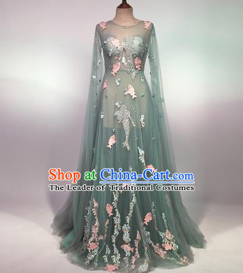 Top Grade Stage Performance Customized Costume Models Catwalks Green Veil Full Dress for Women