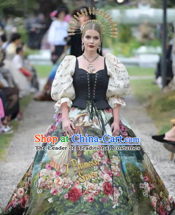 Top Grade Stage Performance Palace Countess Customized Costume Models Catwalks Printing Full Dress for Women