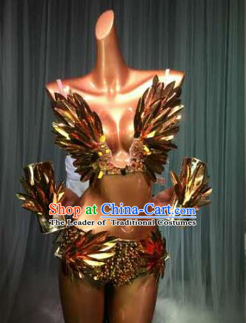Top Grade Pub Singer Stage Performance Customized Golden Feather Costume Halloween Models Catwalks Clothing for Women