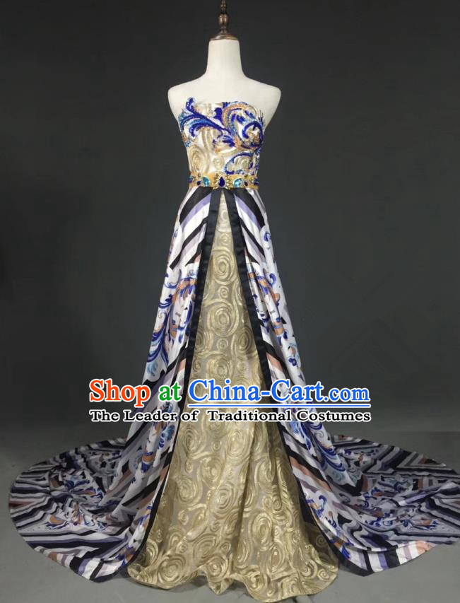 Top Grade Compere Stage Performance Customized Costume Models Catwalks Printing Full Dress for Women