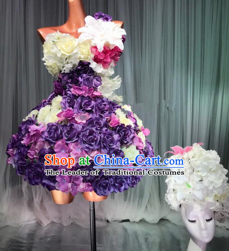Top Grade Stage Performance Costume Models Catwalks Purple Flowers Fairy Dance Dress and Headwear for Women
