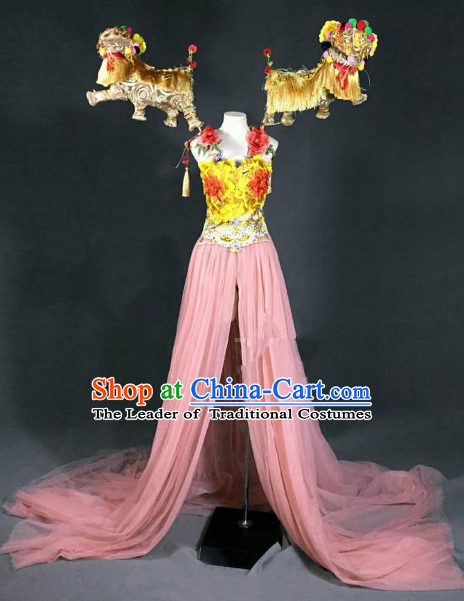Top Grade Stage Performance Costume Models Catwalks Lion Pink Full Dress for Women