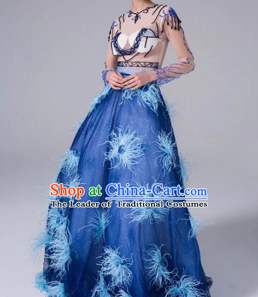 Top Grade Stage Performance Compere Costume Models Catwalks Blue Full Dress for Women