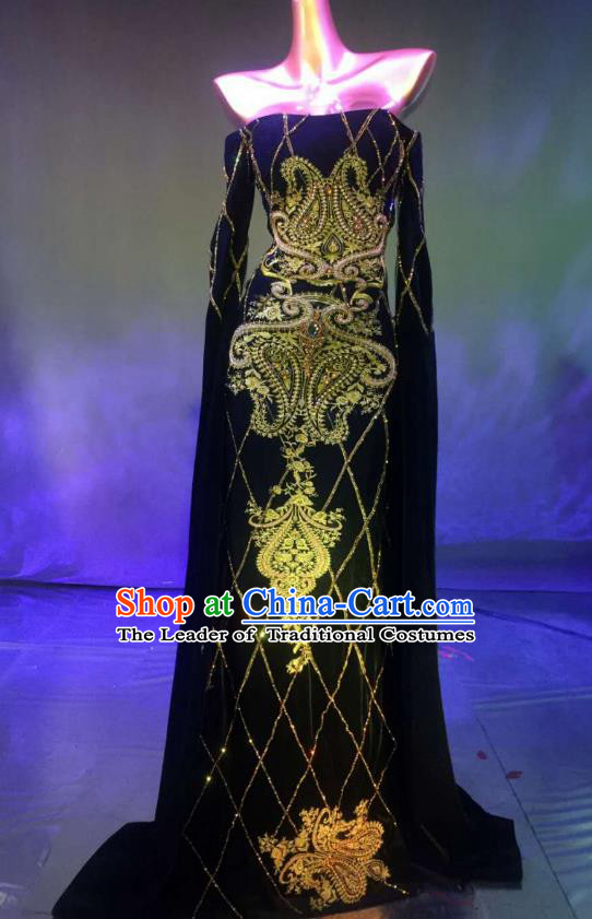 Top Grade Stage Performance Compere Costume Models Catwalks Black Full Dress for Women
