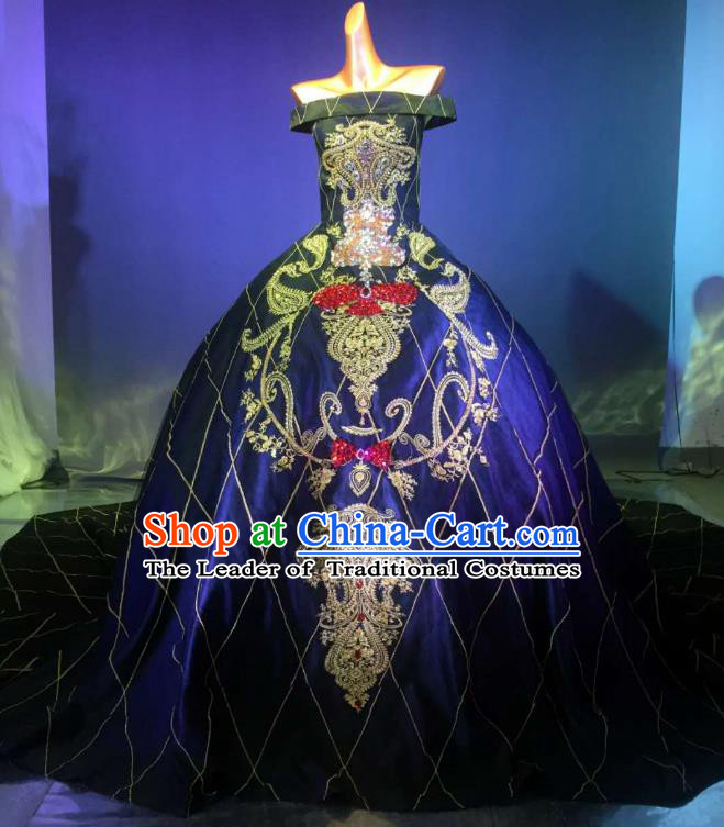 Top Grade Stage Performance Compere Costume Models Catwalks Palace Trailing Full Dress for Women