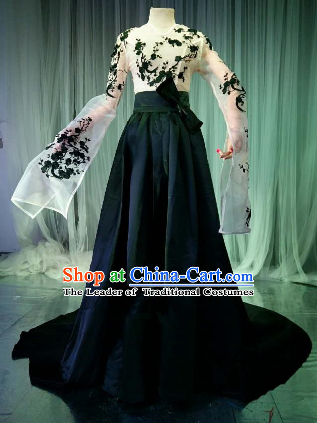 Top Grade Models Catwalks Costume Compere Stage Performance Trailing Full Dress for Women