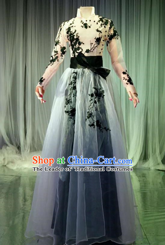 Top Grade Models Catwalks Costume Compere Stage Performance Veil Full Dress for Women