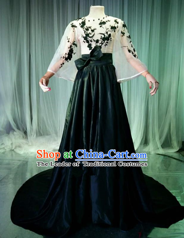 Top Grade Models Catwalks Costume Compere Stage Performance Embroidered Wintersweet Full Dress for Women