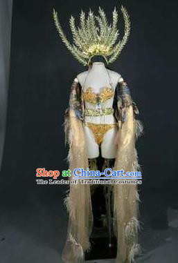 Top Grade Models Catwalks Feather Costume and Headwear Compere Stage Performance Full Dress for Women