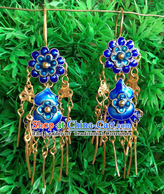 Handmade Chinese Miao Nationality Blueing Calabash Tassel Earrings Hmong Sliver Eardrop for Women