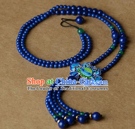 Chinese Traditional Jewelry Accessories Ancient Palace Hanfu Blueing Lotus Necklace for Women