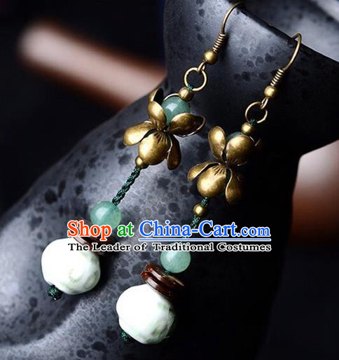 Chinese Traditional Jewelry Accessories Ancient Hanfu Lotus Earrings for Women