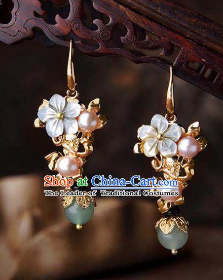 Chinese Traditional Jewelry Accessories Ancient Palace Hanfu Pearls Earrings for Women