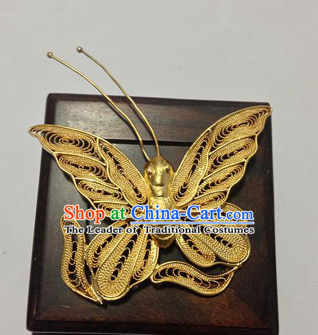 Handmade Chinese Ancient Golden Butterfly Brooch for Women