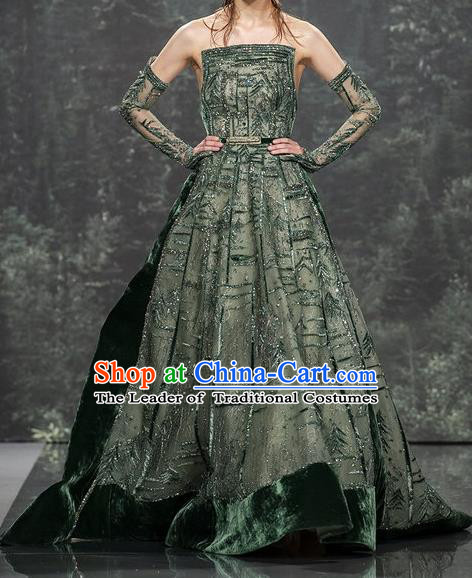 Top Grade Stage Performance Customized Costume Models Stalkshow Trailing Full Dress for Women
