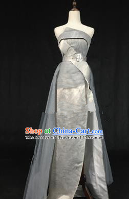 Top Grade Models Catwalks Costume Grey Full Dress Stage Performance Compere Clothing for Women