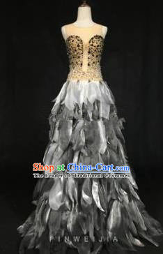 Top Grade Models Catwalks Costume Grey Feather Full Dress Stage Performance Compere Clothing for Women