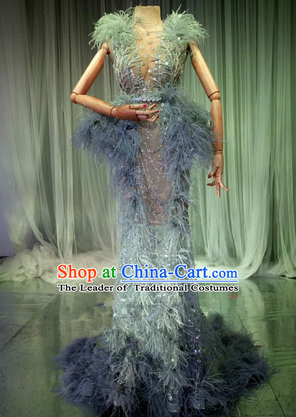 Top Grade Models Catwalks Costume Blue Full Dress Stage Performance Compere Clothing for Women