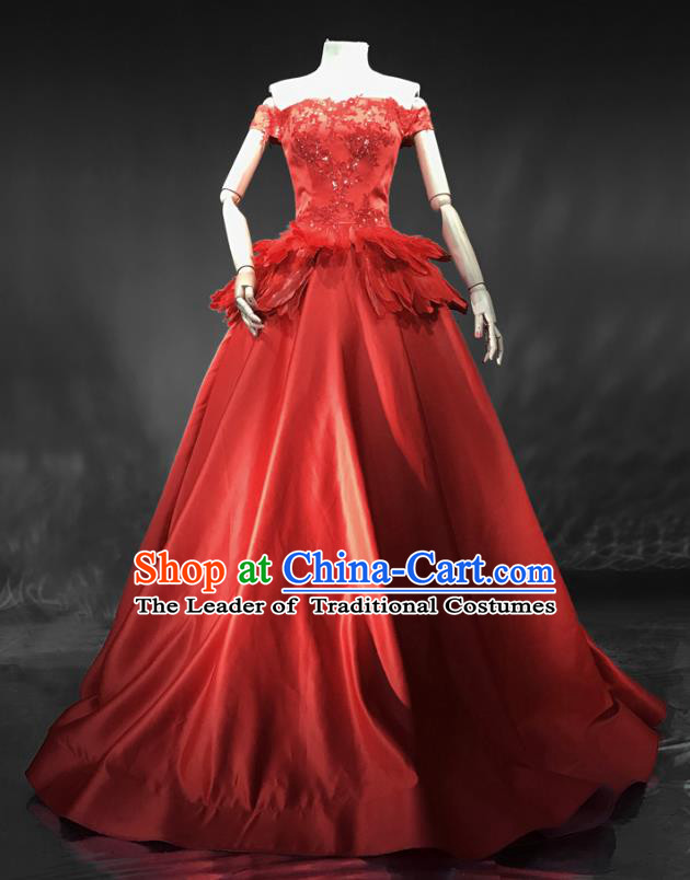 Top Grade Models Show Costume Chorus Catwalks Red Full Dress Stage Performance Compere Clothing for Women