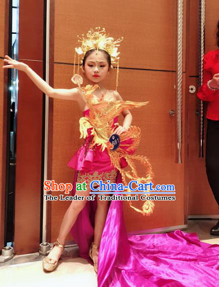 Children Models Show Costume Chinese Stage Performance Catwalks Clothing and Headpiece for Kids