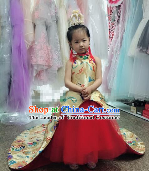 Children Models Show Costume Chinese Stage Performance Catwalks Trailing Dress and Headpiece for Kids