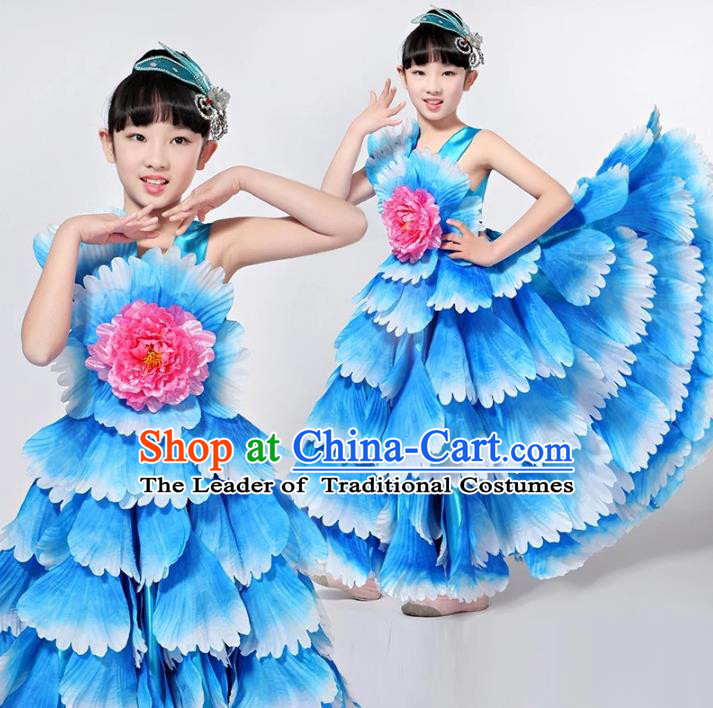 Children Models Show Costume Chinese Stage Performance Catwalks Folk Dance Blue Dress for Kids