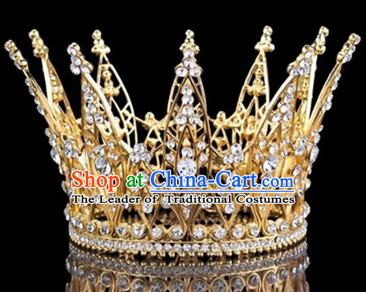 Top Grade Children Stage Performance Hair Accessories Princess Golden Crystal Royal Crown for Kids