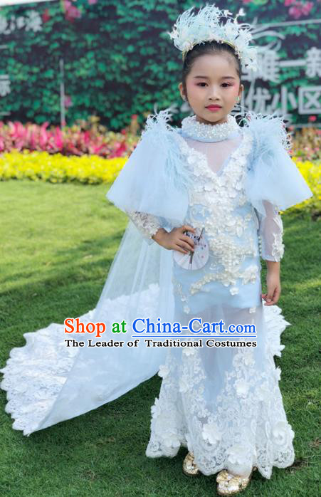 Children Models Show Costume Stage Performance Modern Dance Catwalks White Lace Dress for Kids