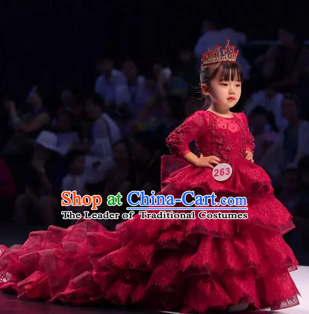 Children Models Show Costume Stage Performance Modern Dance Red Trailing Dress for Kids