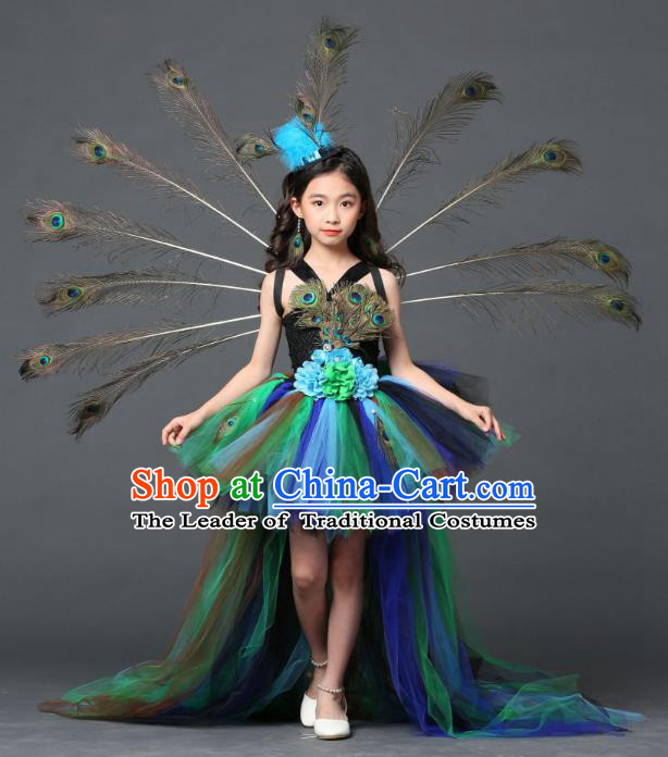 Children Models Show Costume Stage Performance Modern Dance Catwalks Peacock Feather Trailing Dress for Kids