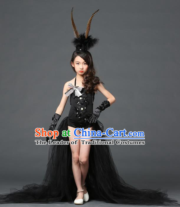 Children Models Show Costume Stage Performance Modern Dance Catwalks Black Veil Trailing Dress for Kids