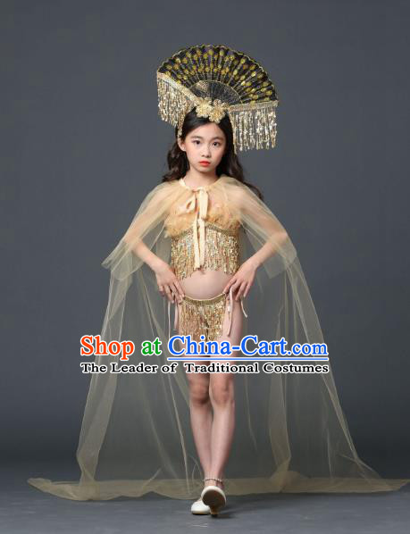 Children Models Show Costume Stage Performance Modern Dance Catwalks Bikini and Headpiece for Kids