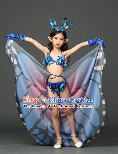 Children Models Show Costume Stage Performance Modern Dance Catwalks Butterfly Bikini and Headpiece for Kids