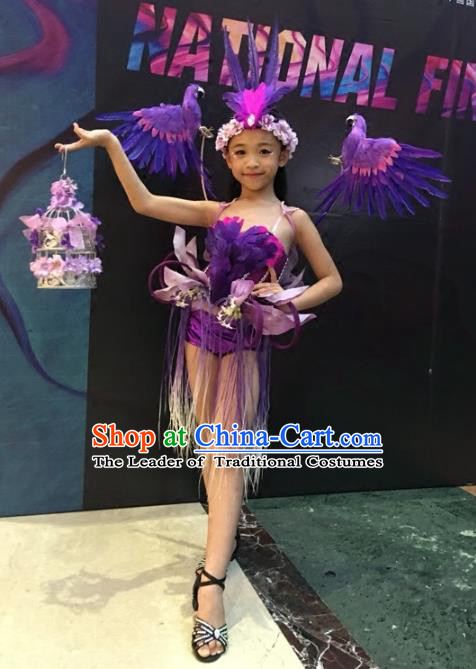 Children Models Show Costume Stage Performance Modern Dance Catwalks Purple Feather Clothing for Kids