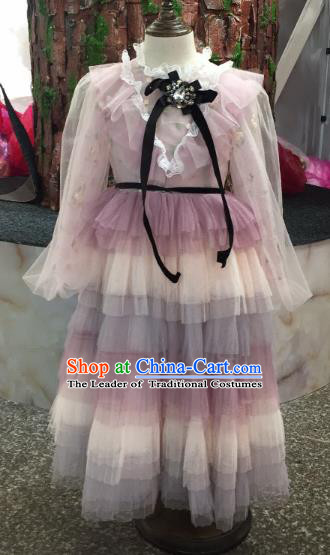 Children Models Show Costume Stage Performance Modern Dance Catwalks Princess Veil Dress for Kids