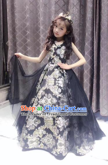 Children Models Show Costume Stage Performance Modern Dance Catwalks Princess Black Veil Dress for Kids