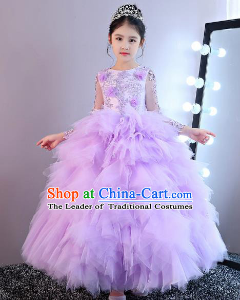 Children Models Show Costume Stage Performance Catwalks Purple Veil Dress for Kids