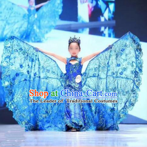 Children Models Show Costume Stage Performance Modern Dance Chinese Catwalks Cheongsam Dress for Kids