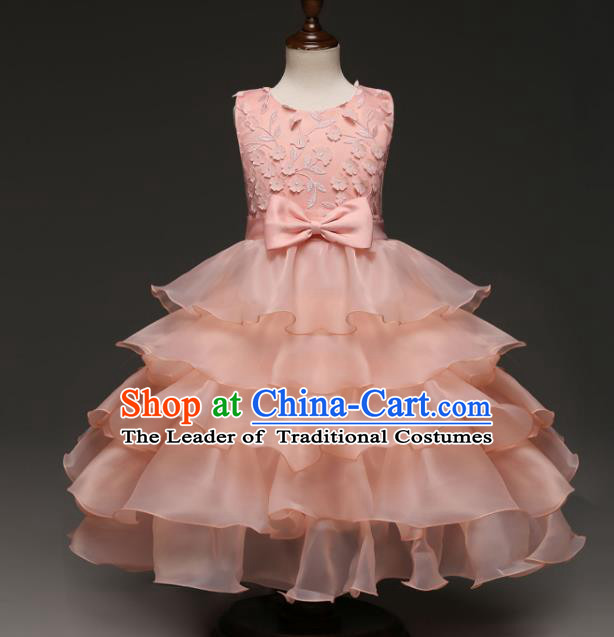 Children Models Show Costume Stage Performance Modern Dance Compere Pink Dress for Kids