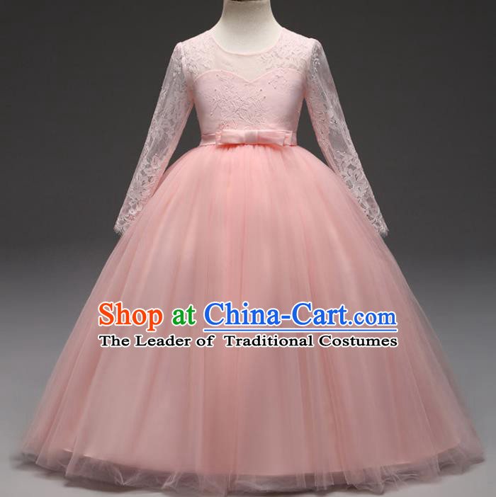 Children Models Show Costume Stage Performance Modern Dance Compere Pink Lace Veil Dress for Kids